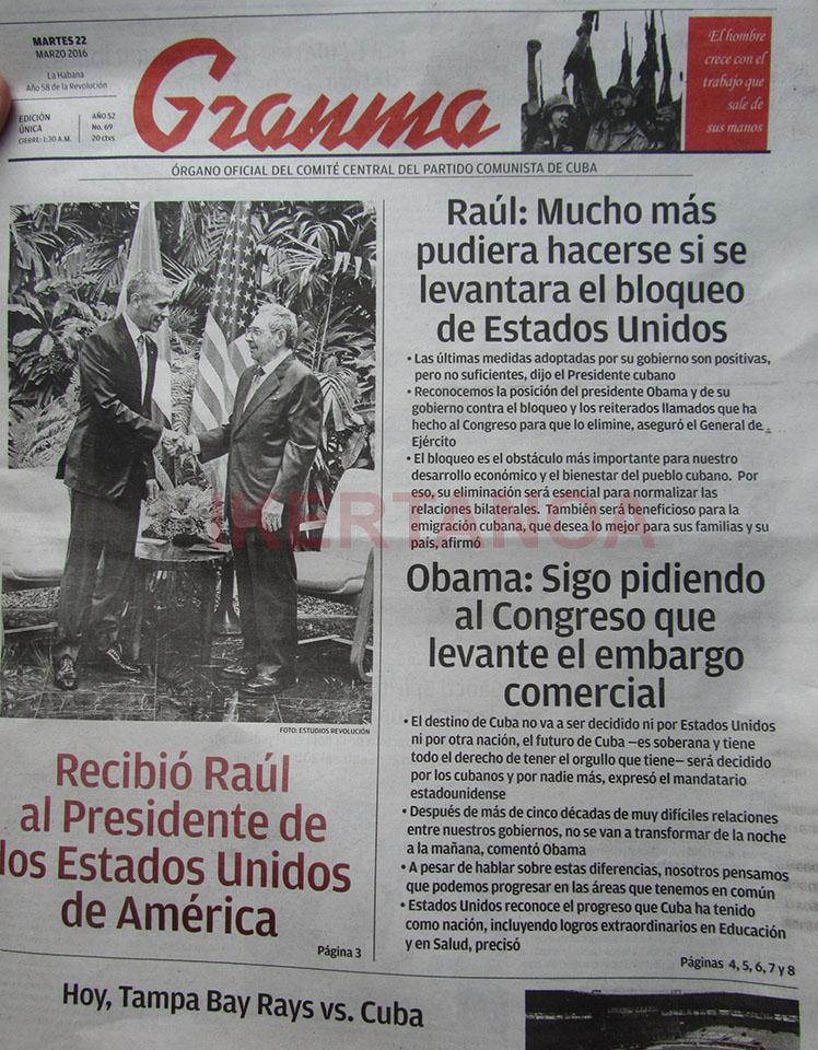 Portada del periódico con la visita de Obama