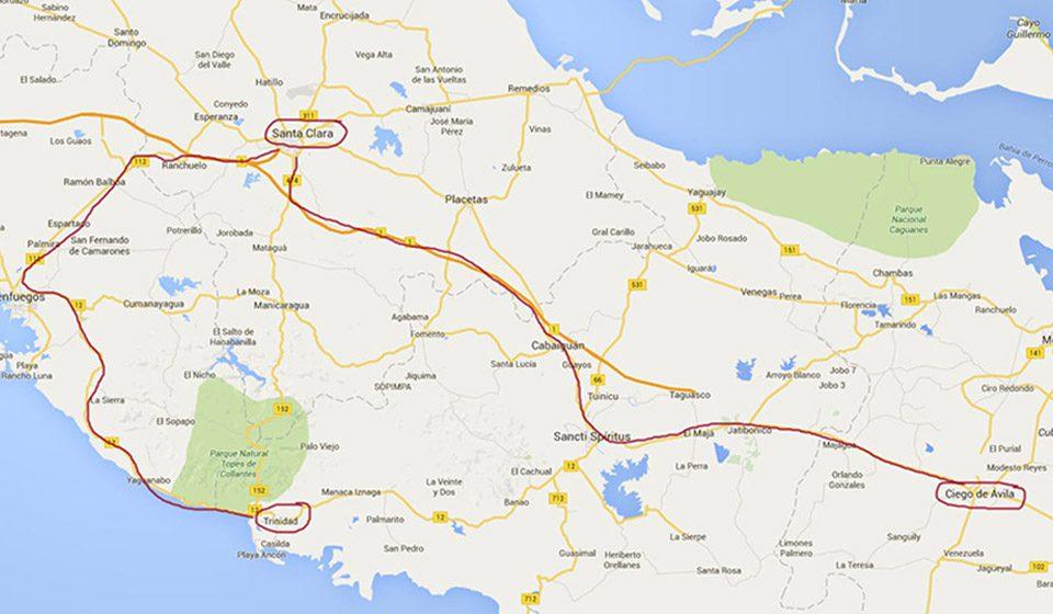 Mapa de Ciego de Ávila a Trinidad pasando por Santa-Clara, Cuba - Viajes Ikertanoa