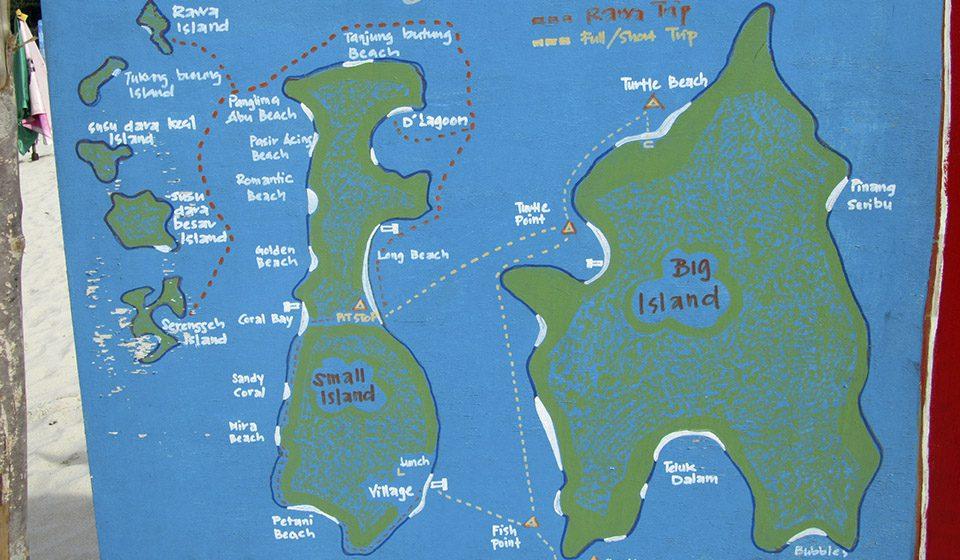 Mapa de las Islas Perhentian, Malasia - Viajes Ikertanoa