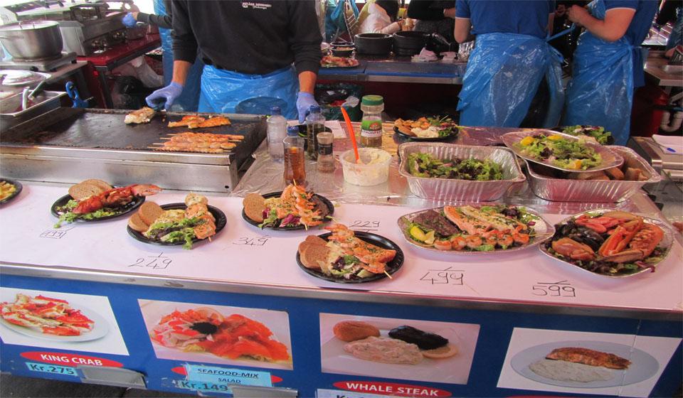 Precios en un mercado popular en Bergen