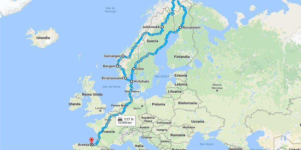 Ruta del Viaje a Escandinavia