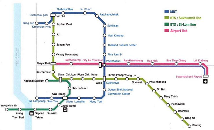 Plano del metro de Bangkok. Viajes a Bangkok, Tailandia con Viajes Ikertanoa.