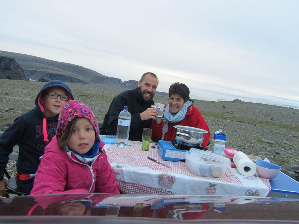 Cafelito en Cabo Norte, Noruega.