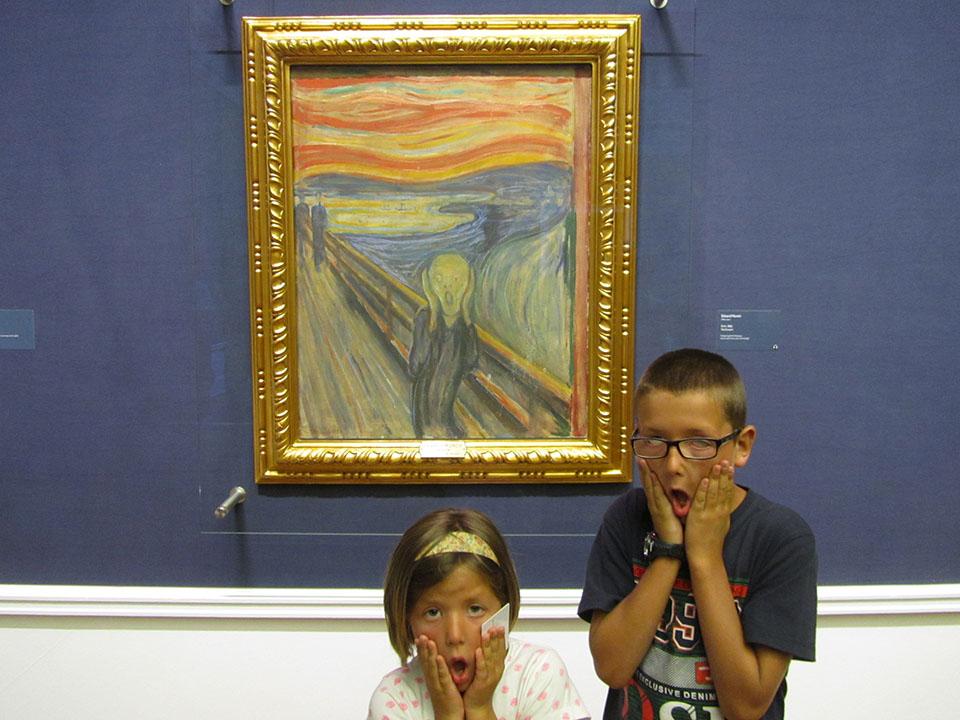 El cuadro El Grito de Edward Munch en el Museio Nacional en Oslo, Noruega.