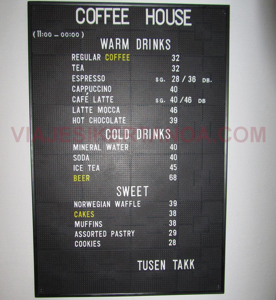 Lista de precios de la cafetería de Cabo Norte en Noruega.