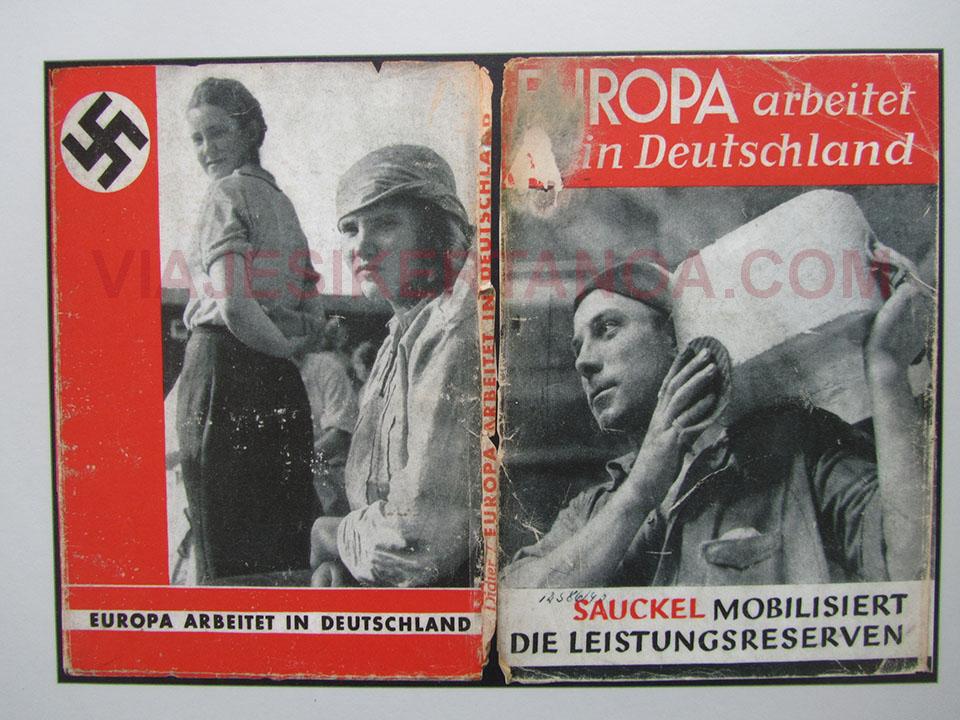 Panfleto porpangandístico del regimen nazi en el campo de concentracion de Neuengamme en Hamburgo, Alemania.