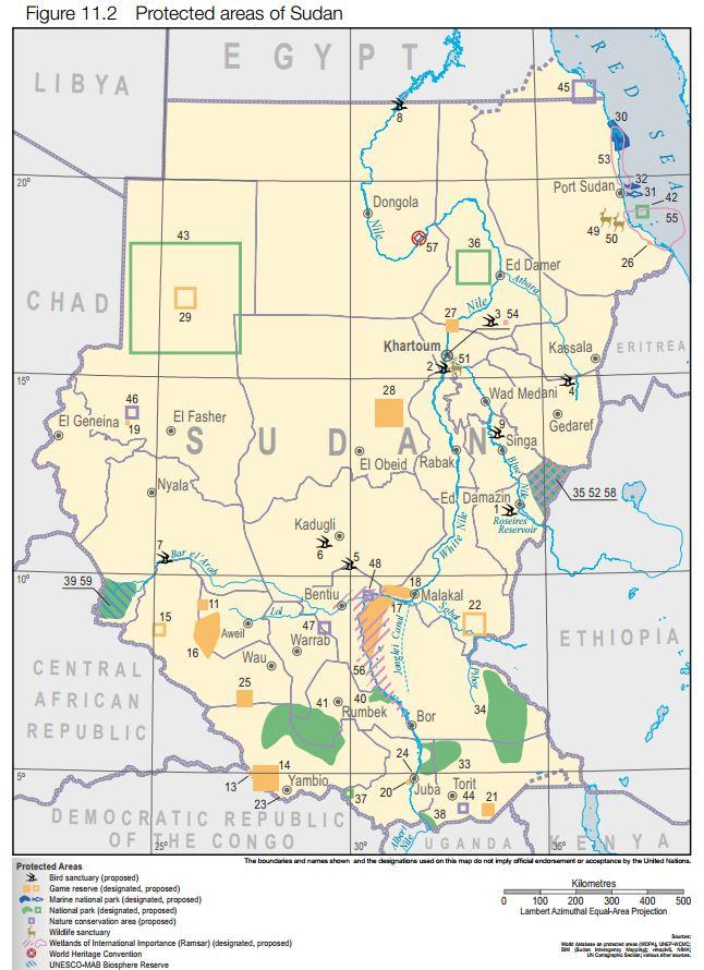 Mapa de las áreas naturales protegidas de Sudán. Fuente: UNEP (2007):