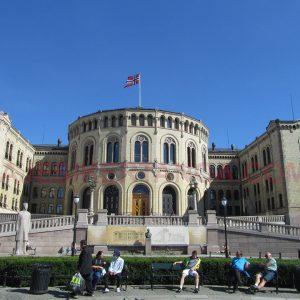 Stortinget, el parlamento noruego en Oslo, Noruega.