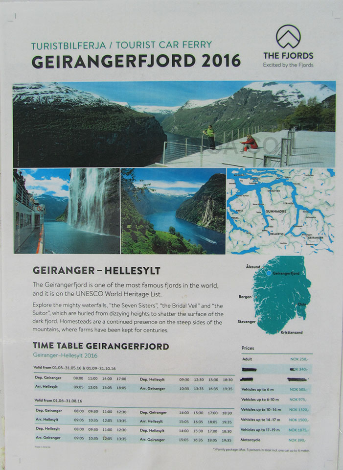 Horarios y precios del ferry Geiranger - Hellesylt en Noruega.