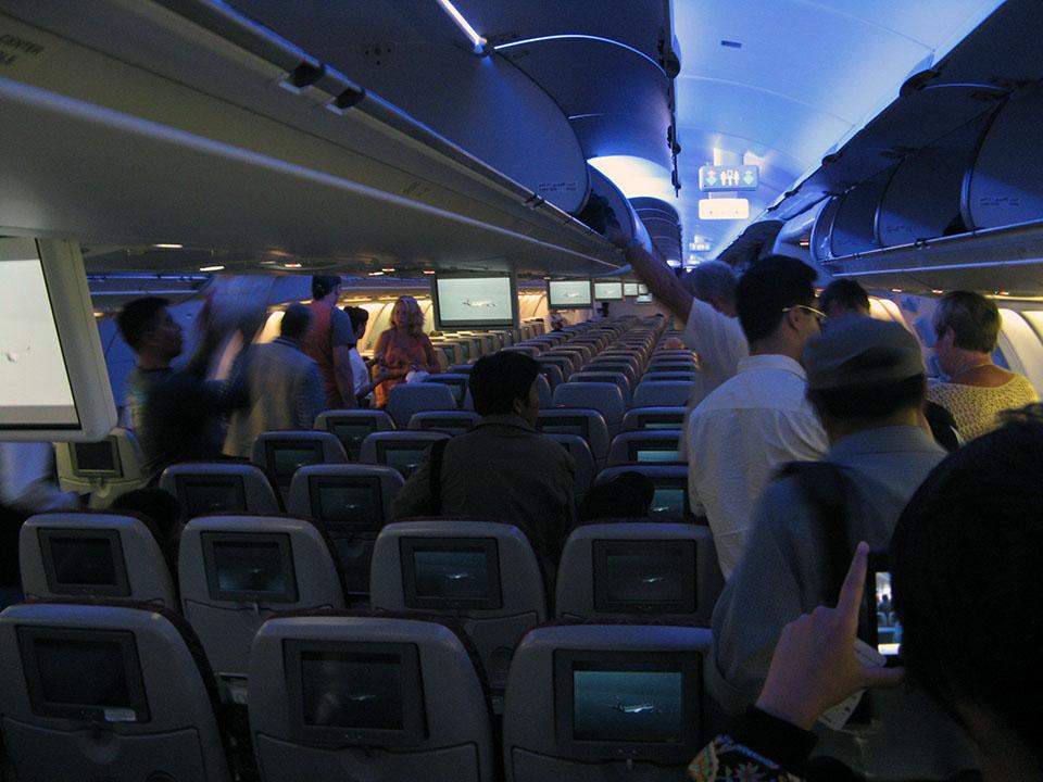 Interior del avión de Qatar Airways.