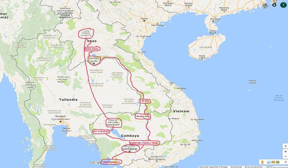 Ruta del viaje a Camboya y Laos.