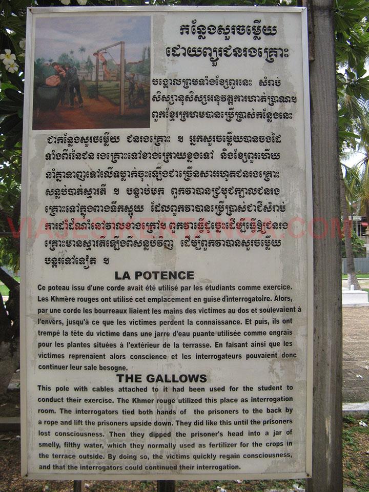 Cartel explicativo de las torturas a las que eran sometidos los presos en la prisión de Tuol Sleng en Phnom Penh, Camboya.