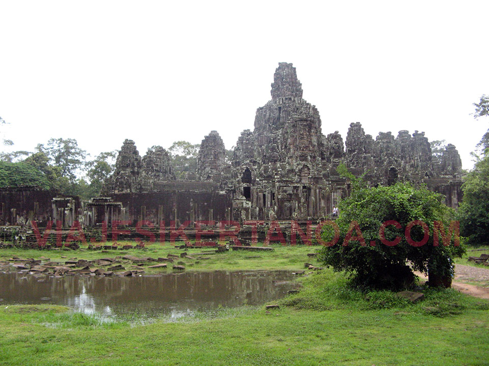 El Bayon dentro de Angkor Thom en Siem Reap, Camboya.