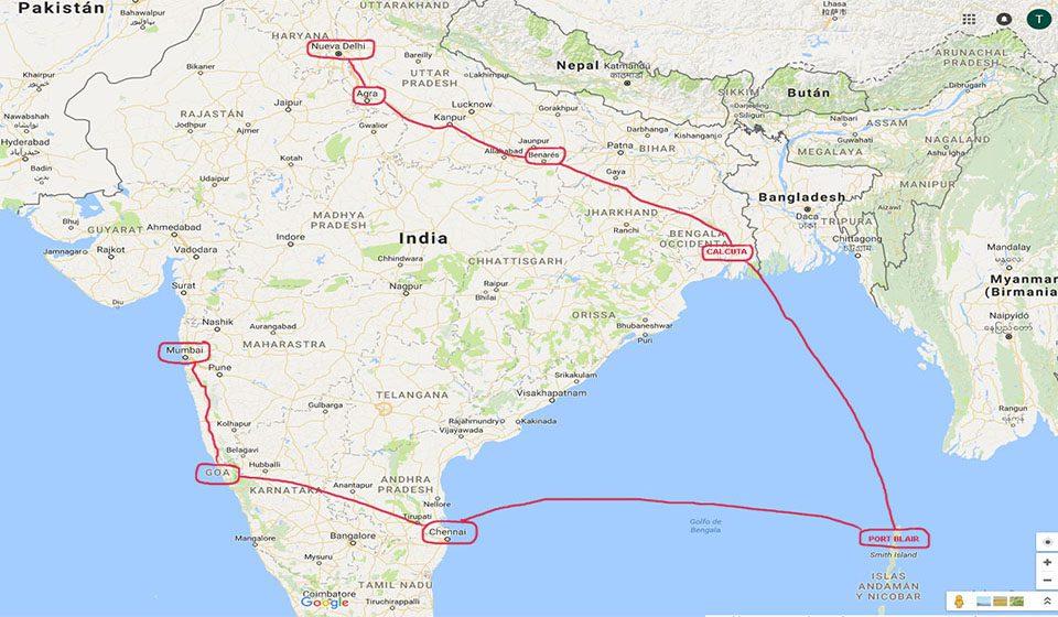 Ruta de viaje a la India e islas Andamán.