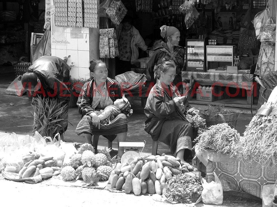Mujeres con sus hijos en un mercado que pasa por la carretera 13 entre Luang Prabang y Vang Vieng, Laos.