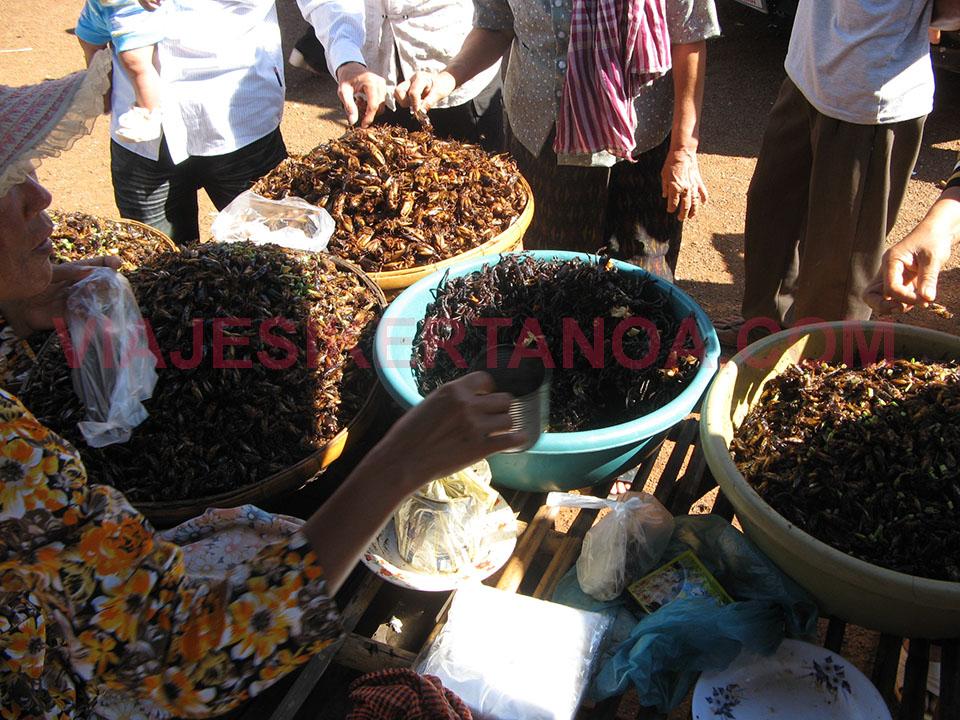 Probando los grillos antes de comprar en el mercado de Skuon en Camboya.