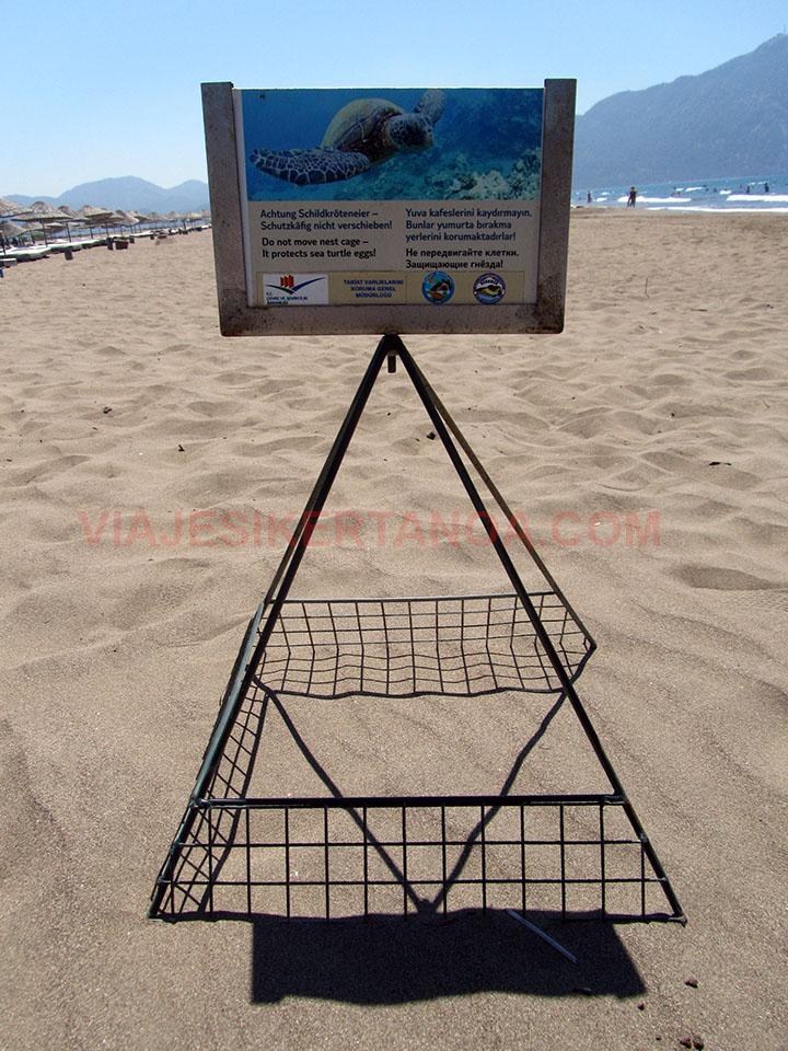 Cartel de tortugas en la playa de Iztuzu, Turquía