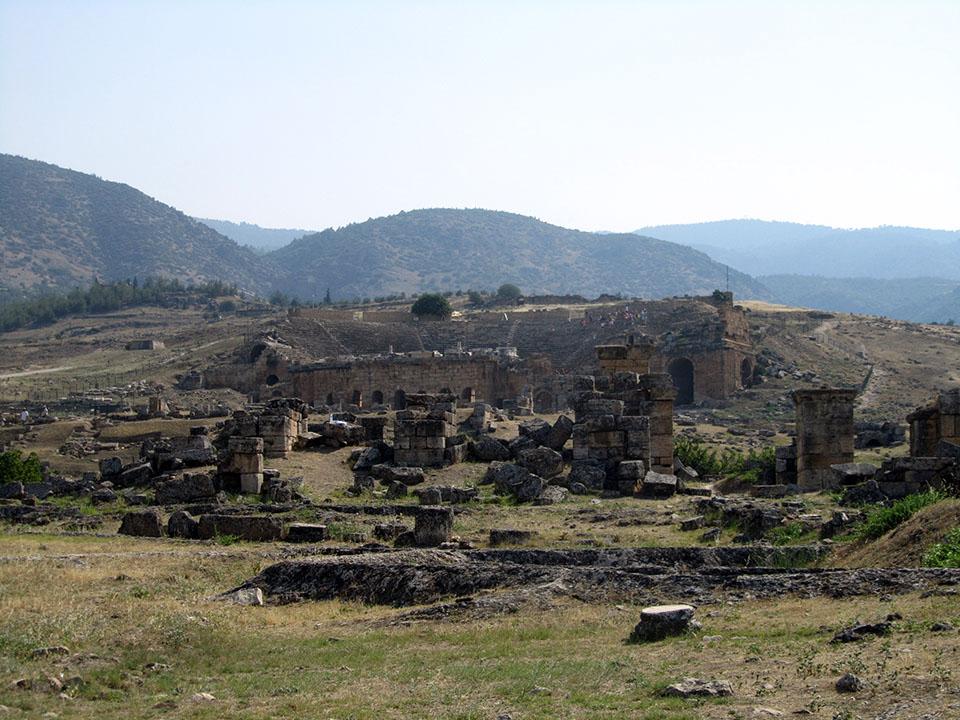 Las ruinas de Hierápolis en Pamukkale, Turquía.