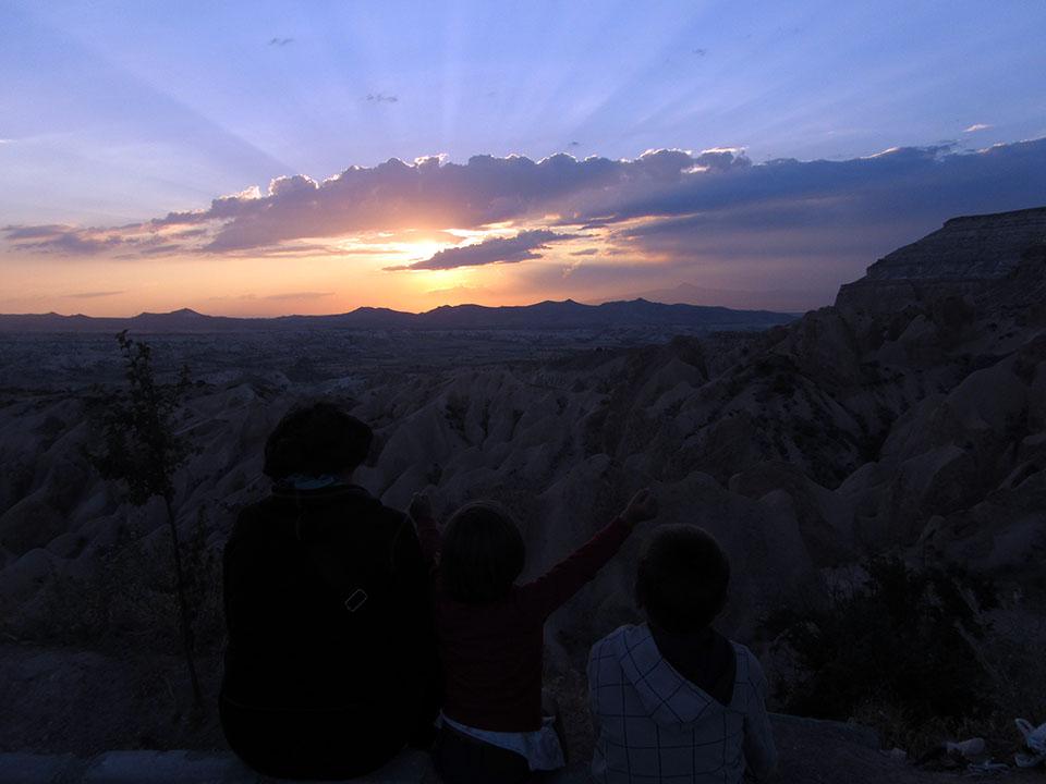 Puesta de sol en el View Point en la Capadocia, Turquía