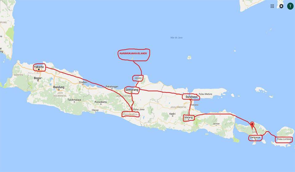 Java, Bali y Lombok en Indonesia.