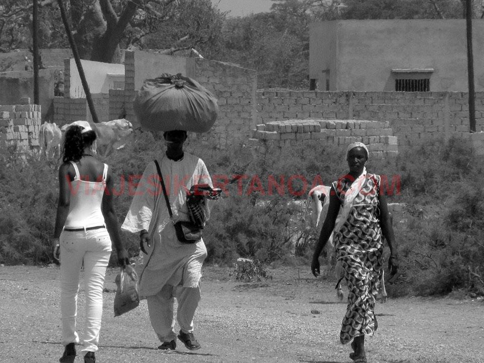 Transportando los enseres en Palmarín, Senegal.