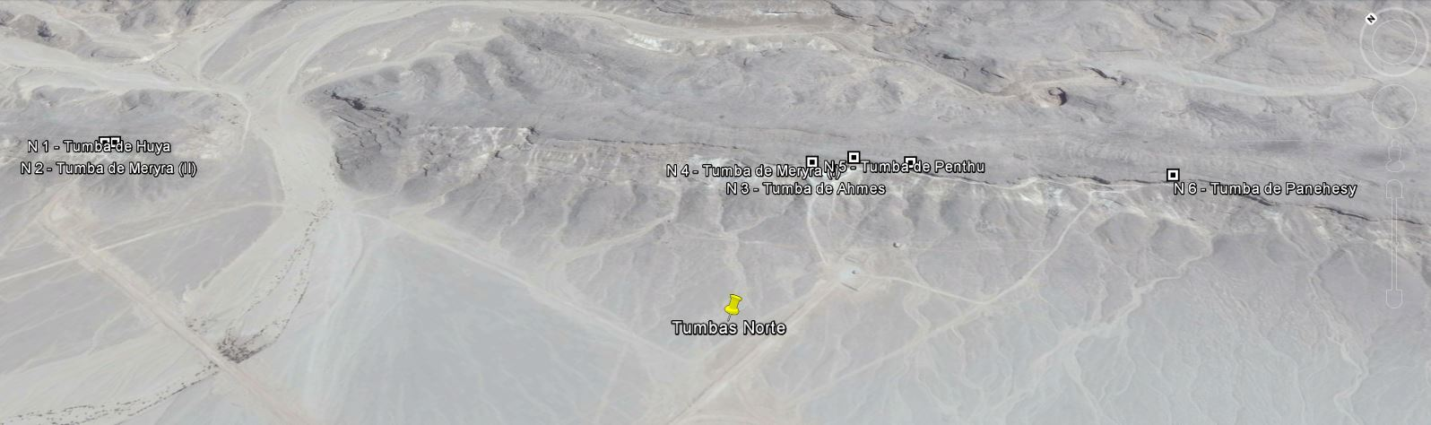 Las tumbas norte de Amarna en Google Earth, guía para tus viajes al Egipto Medio con Viajes Ikertanoa.