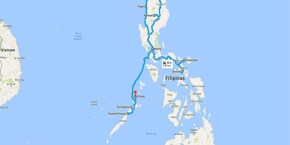 Mapa ruta por Filipinas