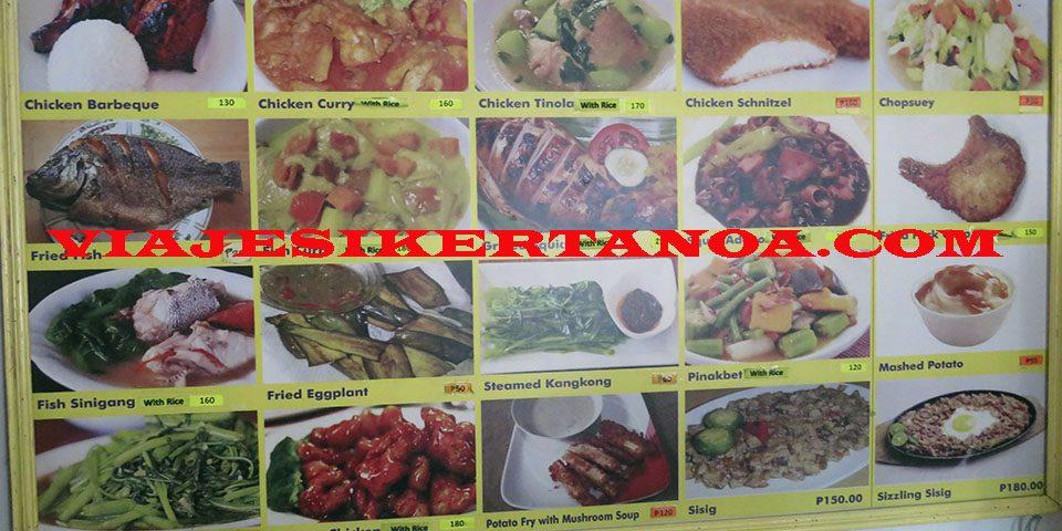 Cartel de comida en El Nido, Filipinas