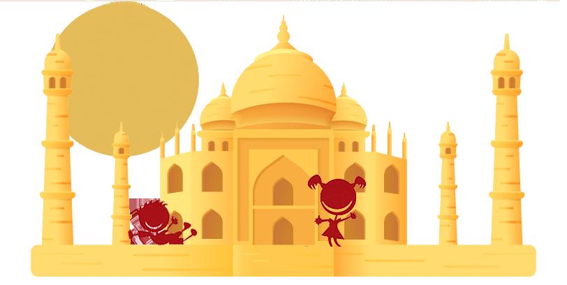 Niños de Viajes Ikertanoa en el Taj Mahal, Nueva Delhi, India. Logo Ikertanoa.