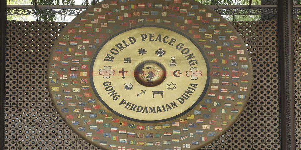 El Gong de la paz en la casa de Gandhi en Nueva Delhi, India