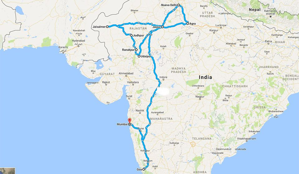 Mapa del viaje a India