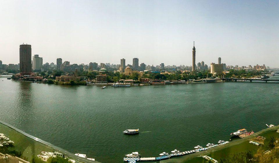 Nilo desde la terraza del Hotel Kempinski en El Cairo. Viaje a Egipto con Viajes Ikertanoa en abril 2018.