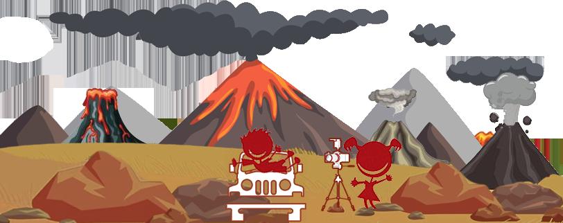 Niños de Viajes Ikertanoa haciendo fotos con volcanes de fondo.