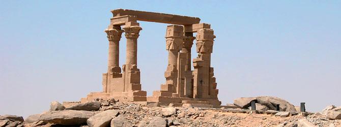Kiosko de Qertassi en la Isla de New Kalabsha, Aswan. Viaje a Egipto con Viajes Ikertanoa.